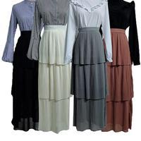 Muslim Women Long Skirt Layer High Waist Skirt Dress Tiered Skater Stretch Gypsy Tiered Skirts Arab Islamic Pleated Casual Skirt