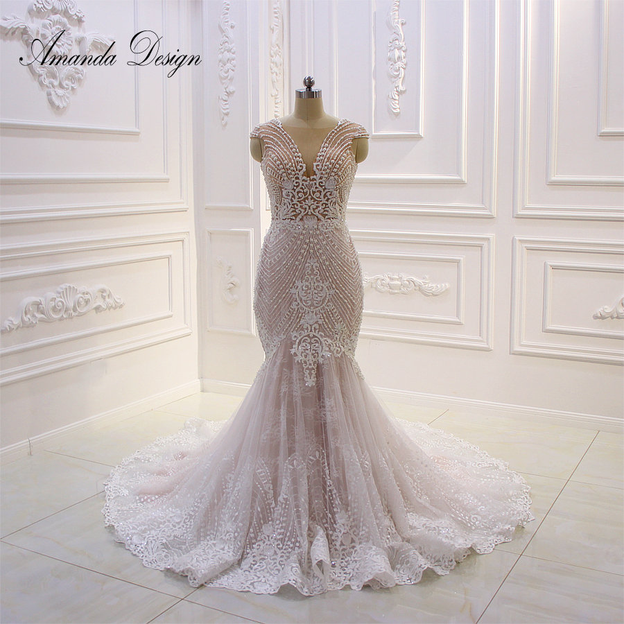 Amanda Design Custom Made Cap Sleeve Lace Applique Illusion Mermaid Wedding Dress with Wrap