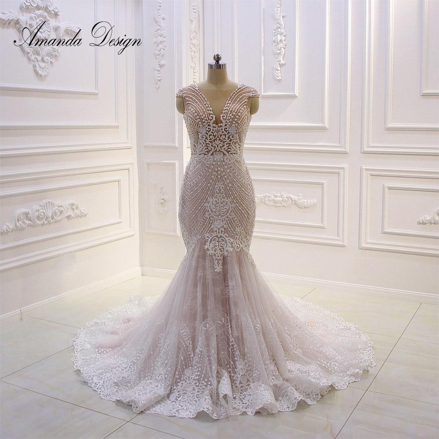 Amanda Design Custom Made Cap Sleeve Lace Applique Illusion Mermaid Wedding Dress with Wrap