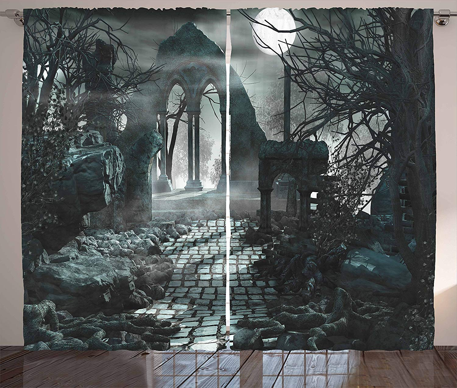 Gothic Decor Curtains Full Moon Light Over Medieval Temple Ruins At Night Dark Scary Backdrop Image Living Room Bedroom Window