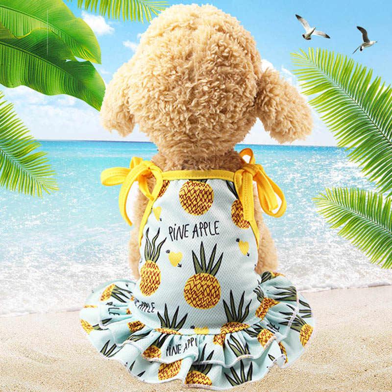 Летняя пляжная одежда для пар собака платье футболка для маленьких собак сладких фруктов, одежда для домашних питомцев; кошки комбинированное Сетчатое платье-жилет щенков чихуахуа, Костюмы