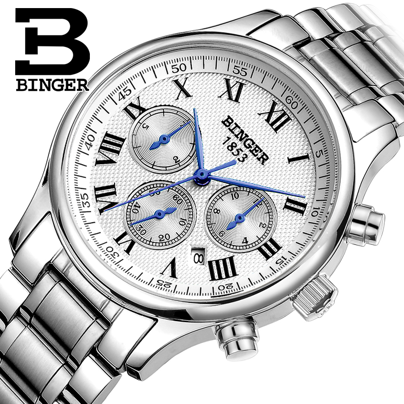Authentic Switzerland BINGER Brand Men automatic mechanical full steel calendar leather strap fashion male watch waterproofAuthentic Switzerland BINGER Brand Men automatic mechanical full steel calendar leather strap fashion male watch waterproof