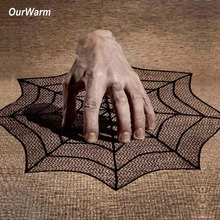 OurWarm Halloween Decoration Table Backgrounds Lace Spider Web Table Topper Polyester Tablecloth Table Covers 30inch ourwarm 1pc halloween table cloth party table decoration spider web lace design rectangle tablecloth with ghost party decoration
