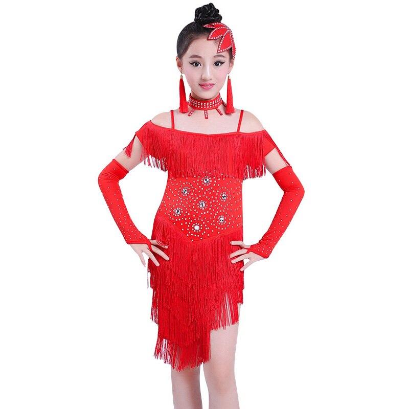 c9149446f ¡Oferta! vestido de baile latino con borla y lentejuelas para niñas, traje  de baile de salón de ...