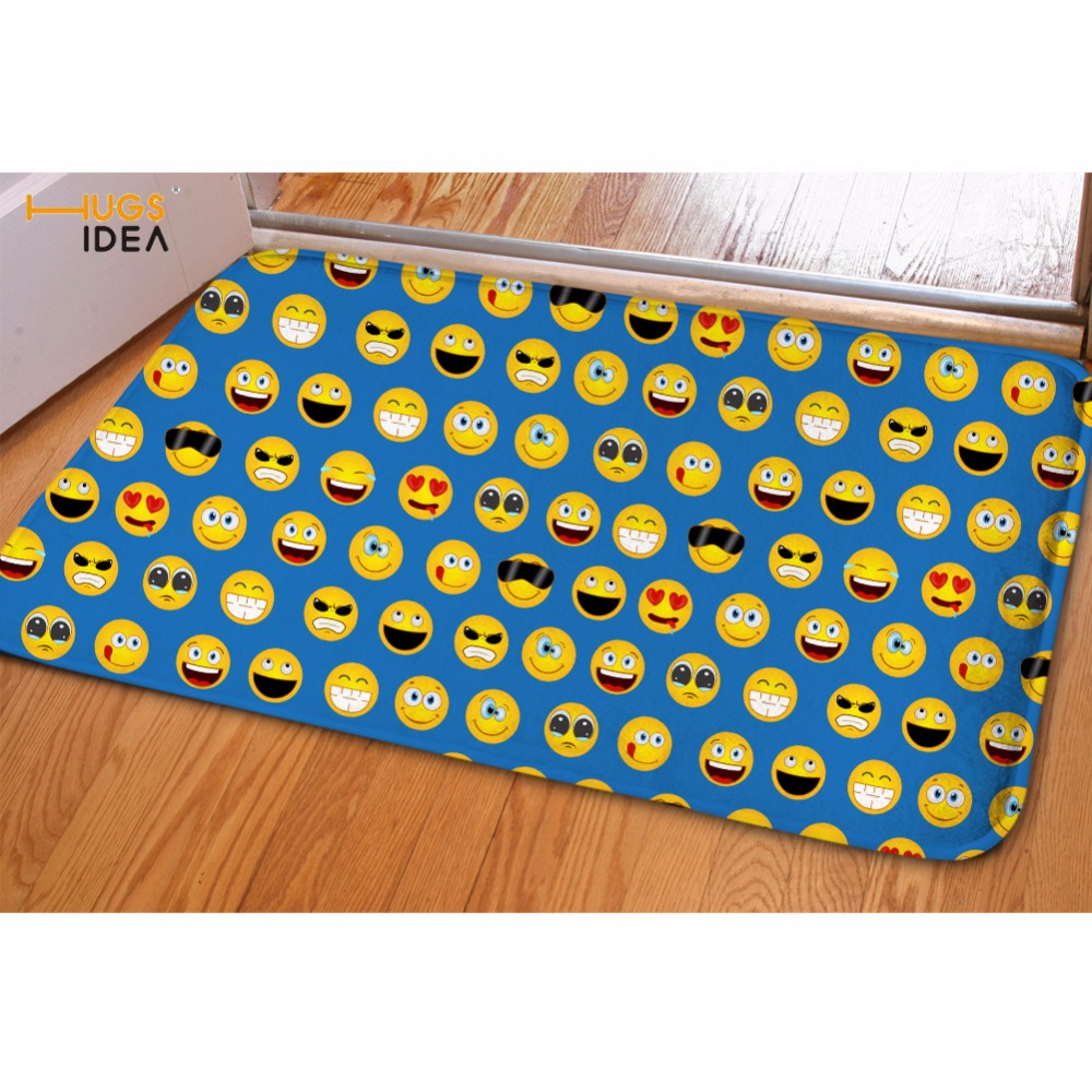 HUGSIDEA Funny Emoji Face Flannel Carpet Doormat Living