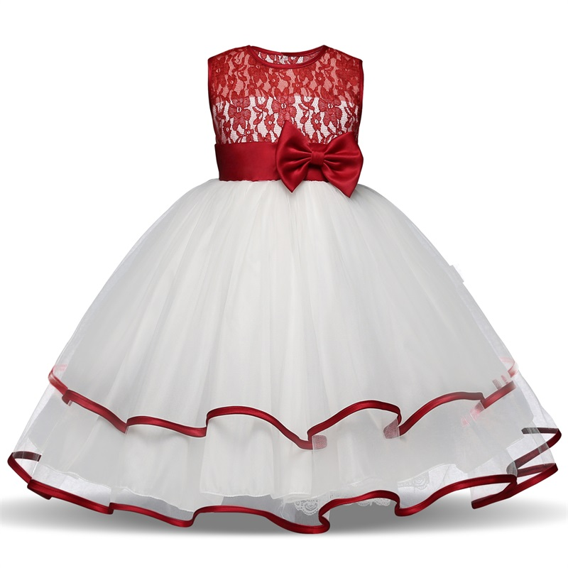 Lace Princess Dress Girl Kids Clothes Wedding Ceremony Flower Girl Fancy White Dress Tutu Children Prom Gown Design Vestidos gril flower dress multi storey white clothes stage girl performance children show clothes for dance with a pair of glove