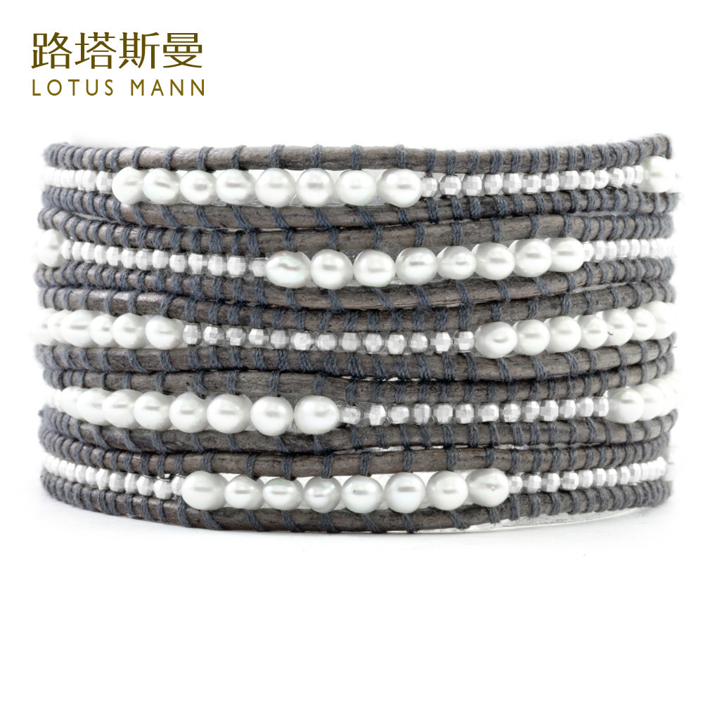 Lotus Mann Freshwater pearl and silver laser bead five laps retro grey leather cord bracelet цена