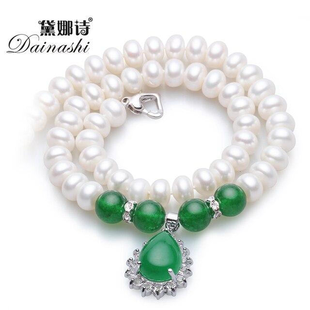 Dainashi навсегда классический зеленый агат с 8-9 мм/9-10 мм природный жемчуг ожерелье высокого качества жемчужные украшения для женщин