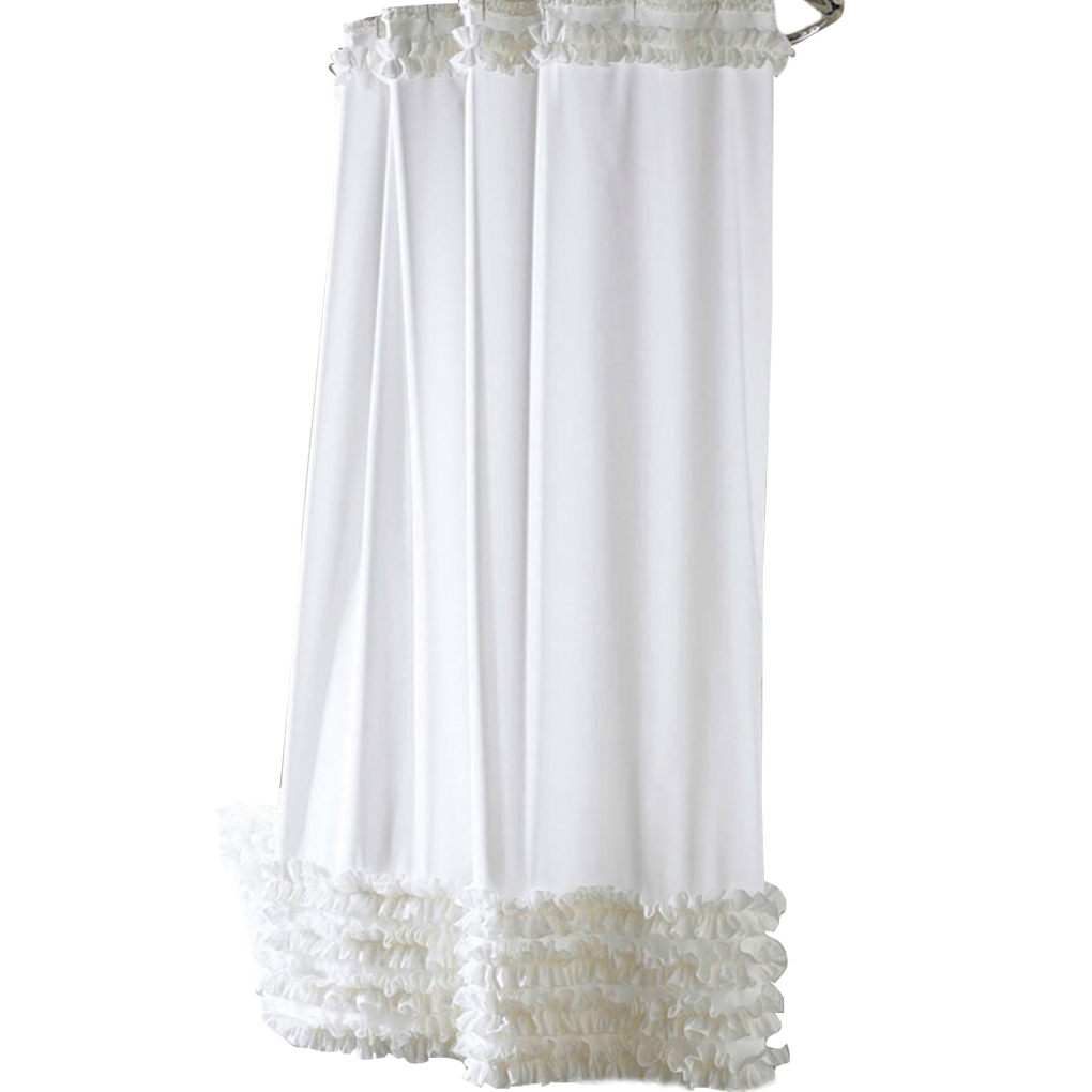 3 Size Ruffles Shower Curtain Liner Water Repellent Mildew Free ...