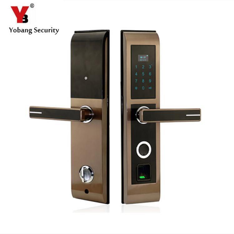 YobangSecurity Smart Fingerprint Door Lock LED Display Keypad Keyless Lock Unlock By Fingerprint+Password+IC Card+Mechanical Key цена