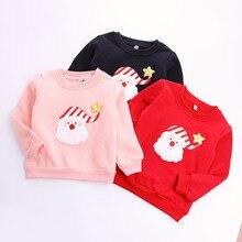 2016 Winter Children Clip Cotton Long Sleeve T-shirt Girl/boy Christmas Fleece Render Unlined Upper Garment