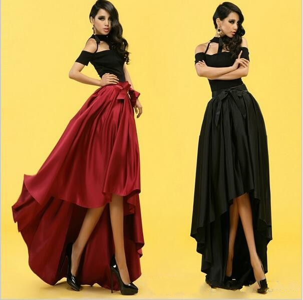 67253615404d Sexy Hot Summer Style Skirts 2015 Cheap in Stock High Low Satin Red Black  Long Skirts Hot Selling High Waist Skirts Pleated