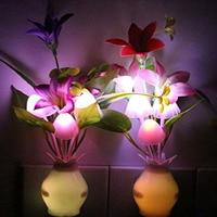 PCS Kids Night Light Bathroom Kitchen Bedside Wall Light Lamp Color Changing Plug In LED Mushroom Flower Nightlight (Cream)