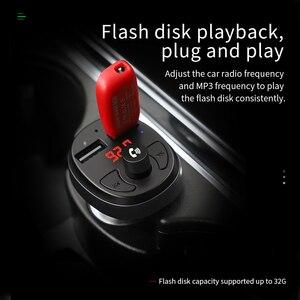 Image 3 - HOCO المزدوج USB شاحن سيارة LED عرض معالج إرسال موجات fm سماعة بلوتوث للسيارة عدة الصوت MP3 مشغل موسيقى آيفون 11