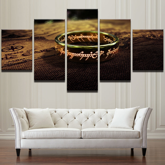 Merveilleux Canvas Wall Art Pictures Landscape Frame Home Decor 5 Pieces Lord Of The  Rings Paintings HD Printed A Special Ring Poster PENGDA