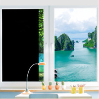 0%VLT 1.52m x 20m Dark Black Window Tint Film Glass House Commercial Decorative Film Privacy Protection Window Film