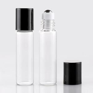Image 5 - Toptan 100 adet/grup Mini cam parfüm şişeleri üzerinde rulo ile boş kozmetik uçucu yağ seyahat için çelik top ile şişe