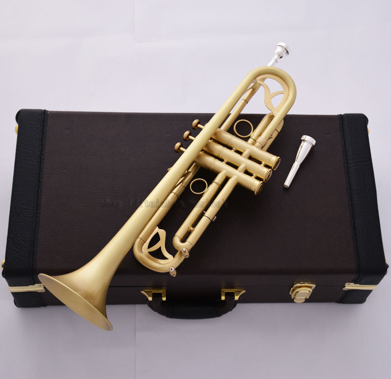 Professional Matt Brushed JINBAO Bb Trumpet Horn Monel 2-Mouthpiece Leather Case professional silver gold plated marching french horn bb monel valves with case