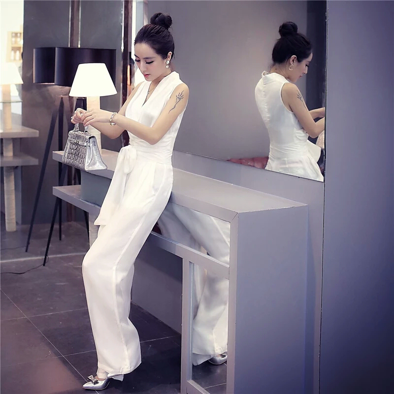 Women Overalls 2019 New Fashion Summer Elegant Office Lady Women Bandage Casual Solid Romper Jumpsuit