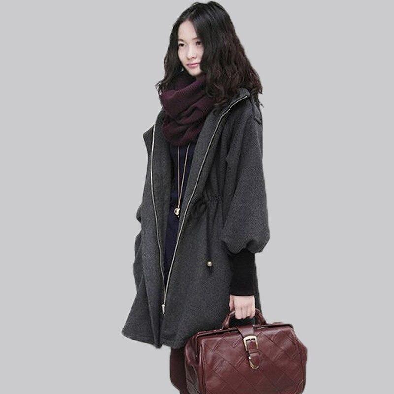 Plus Size 4XL 5XL Autumn Winter Women's Wool Coat Adjustable Waist Hooded Winter Coat Women Woolen Jacket Female Overcoat LI683