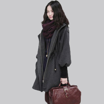 Plus Size 4XL 5XL Autumn Winter Women's Wool Coat Adjustable Waist Hooded Winter Coat Women Woolen Jacket Female Overcoat LI683