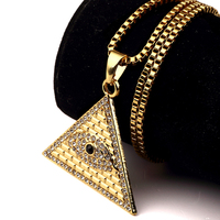 Iftec Golden Egyptian Pyramid Necklaces Pendants Men Women Iced Out Crystal Illuminati Evil Eye Of Horus