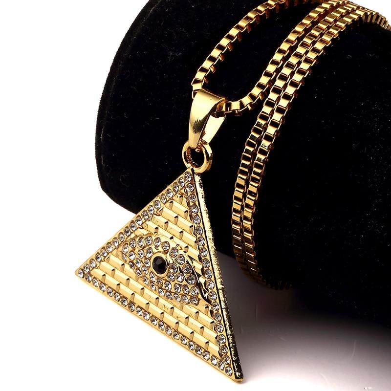Iftec D'or Pyramide Égyptienne Colliers Pendentifs Hommes Femmes Iced Out Cristal Illuminati Mauvais Oeil De Horus Chaînes Bijoux Cadeaux