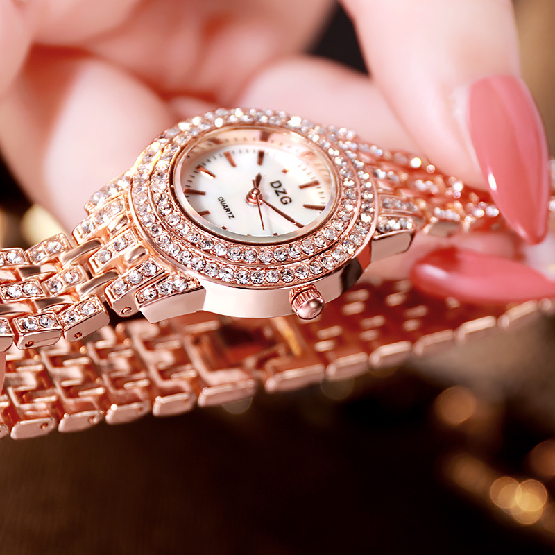 Luxury Women Bracelet Watches Rose Gold Stainless Steel Quartz Clock Fashion Small Ladies Crystal Rhinestone Watch reloj mujer in Women 39 s Watches from Watches