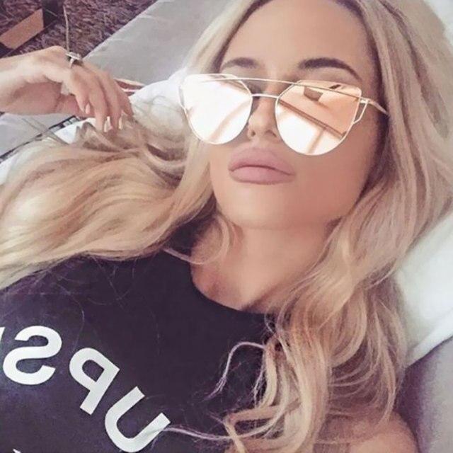 e02a5ee2d79 2017 Cat Eye vintage Brand designer rose gold mirror Sunglasses For Women  Metal Reflective flat lens Sun Glasses Female oculos