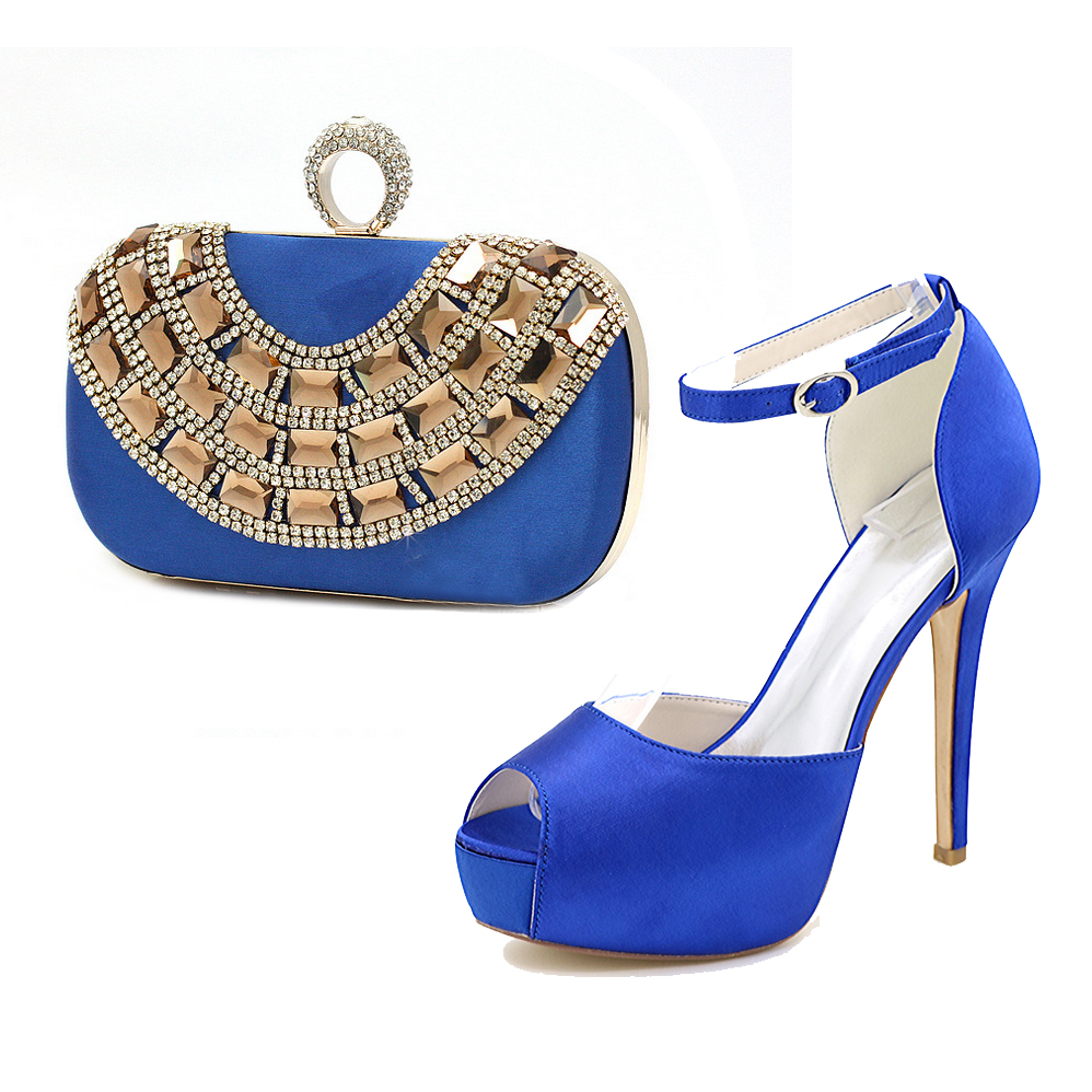 Elegant royal blue satin evening dress shoes platform high heels with matching crystal clutch bag bridal party fashion show kit