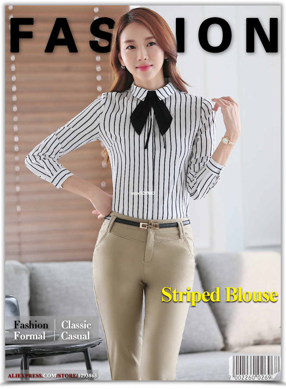 Lenshin Women Tie Blouses Office Lady Female Black And White Striped Details Menamp039s V Neck Tee Putih 1656syaliexpress 01 02 03 04 05 06 07
