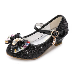 Image 4 - ילדי נסיכת נעלי בנות מפלגה עקב גבוהה סנדלי אופנה פרח ילדי גליטר עור נעלי פרפר קשר שמלת חתונה