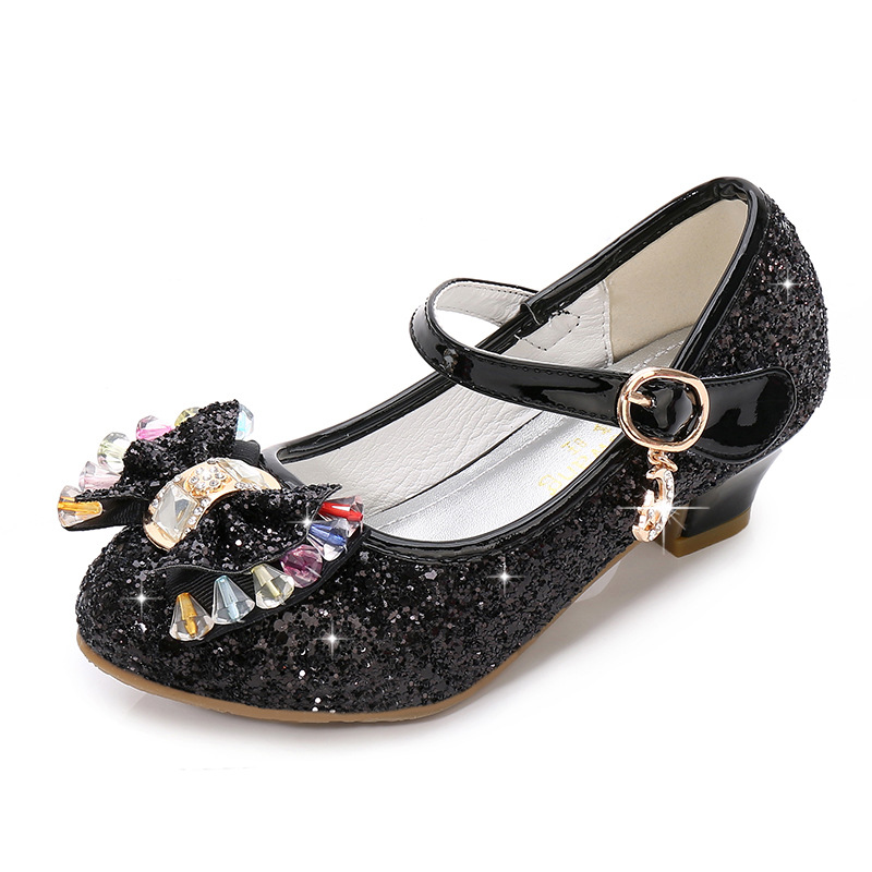Image 4 - Children Princess Shoes for Girls Party High Heel Sandals Fashion Flower Kids Glitter Leather Shoes Butterfly Knot Dress Wedding-in Leather Shoes from Mother & Kids