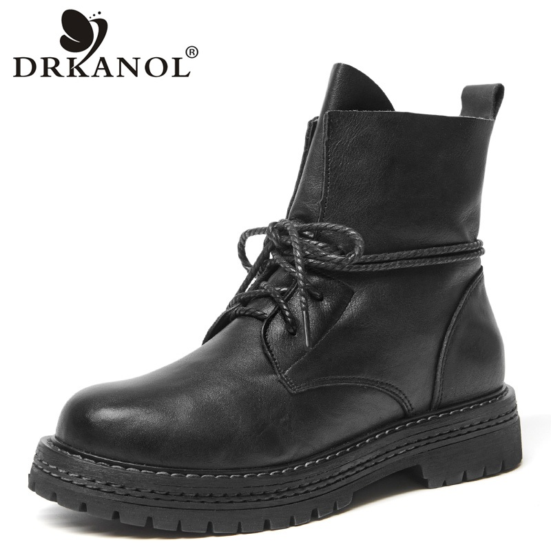 DRKANOL Autumn Mid Calf Martin Boots For Women Genuine Cow Leather Thick Heel Shoes Round Toe Motorcycle Boots New Arrival new arrival genuine leather rivets thick heel round toe metal decoration women ankle boots handsome motorcycle winter boots l50