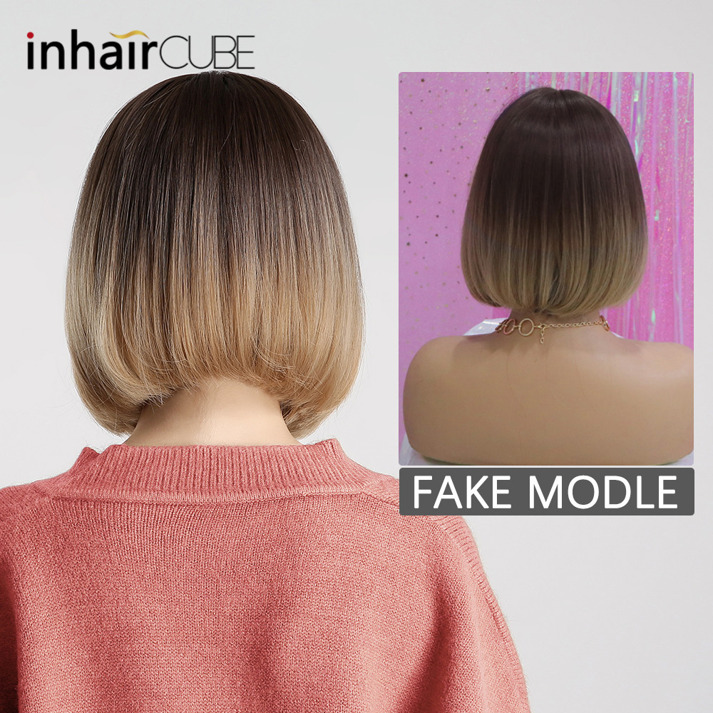 Image 2 - Inhair Cube Synthetic Flat Bangs Women Wig Ombre with Highlight Short Straight Hair Bob Wig  Cosplay  Hairstyle-in Synthetic None-Lace  Wigs from Hair Extensions & Wigs