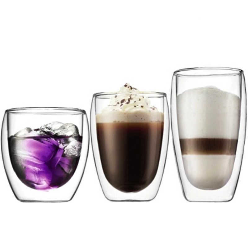 2018 Yaratıcı Danimarka Bodum Çift Cidarlı Kahve Pu'er Çay Cam Bardak Suyu Kupa Süt Kokteyl 1 adet 80/250/350/450/650 ml Toptan