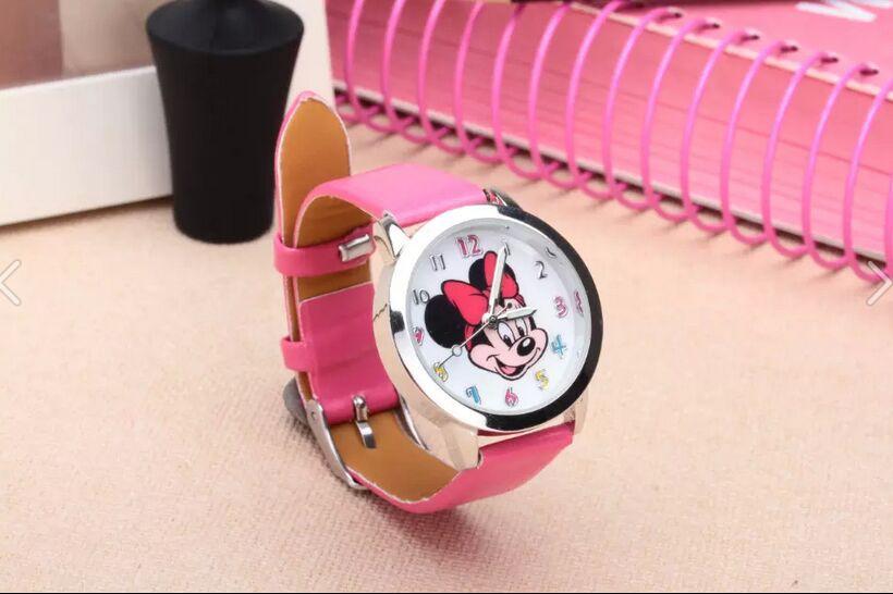 Casual Lovely Mickey Watch For Kids Women Ladies PU Leather Cartoon Watches Dress Quartz Wristwatch Relogio Feminino Reloj Mujer
