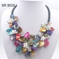 Free Shipping Colorful Pearl Shell Jewelry Pearl Beads Choker Statement Necklace 18inch