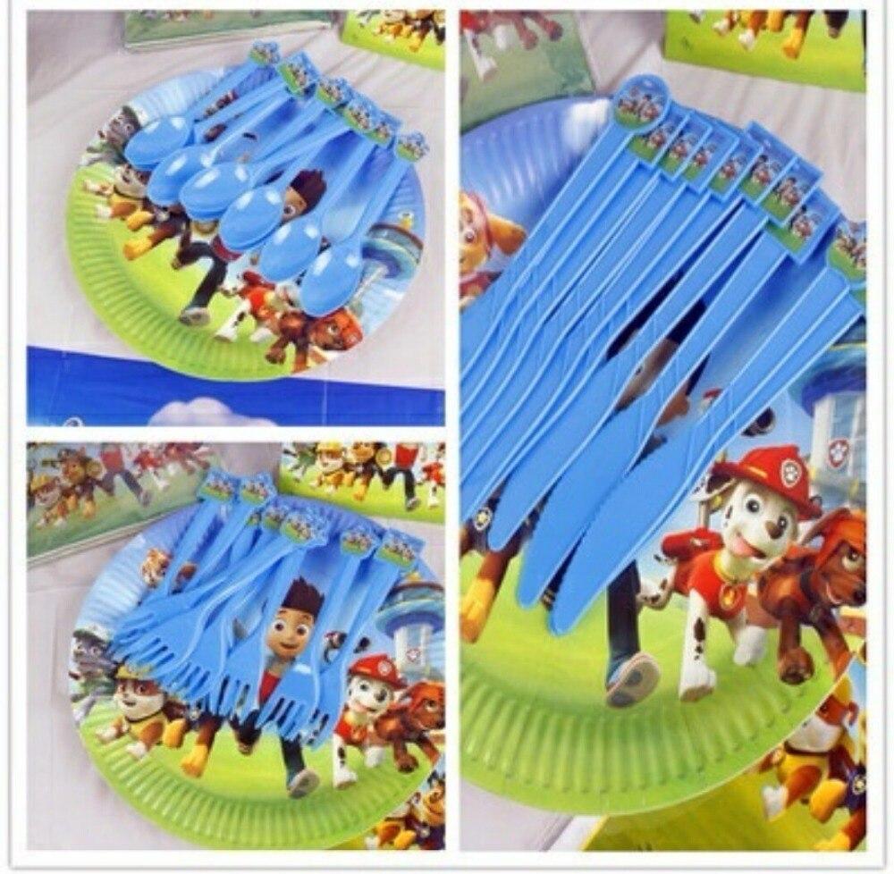 30pcs Set Kid Boys Party Patrolling Cartoon Theme PC Plate Cake Spoon+ Knife+fork <font><b>Birthday</b></font> Favors Decoration Plate