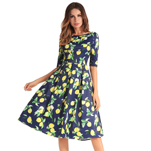 2018 summer new lemon print slim lady dress