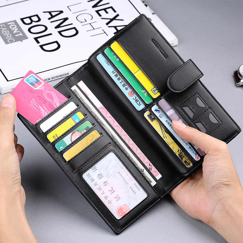 WILLIAMPOLO Genuine Leather Long Wallet For Men Black Fashion Phone Credit Card Holder Coin Purses Business Clutch Cowhide Black