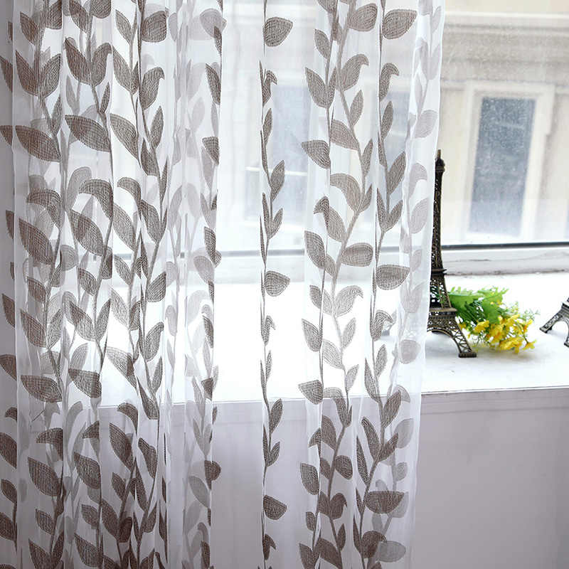 Voile Super Leaves Printed Tulle Living Room Window Curtain Door Drapes Scarf Sheer Panel Valances