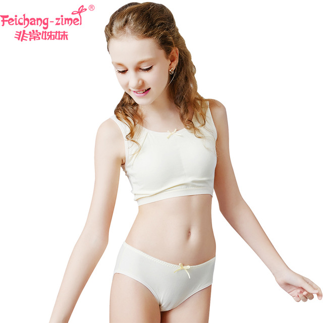 Free Shipping Feichangzimei Teen Girl Underwear Cotton Sport Bra White Yellow Green A Cup Bras Set For Pubescent Girls 100921s