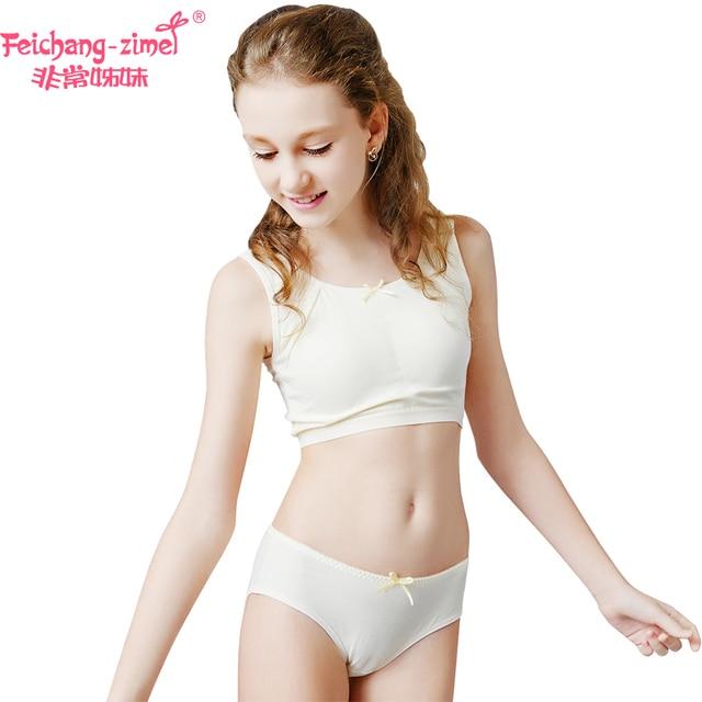 Free Shipping Feichangzimei Teen Girl Underwear Cotton Sport Bra White Yellow Green A Cup