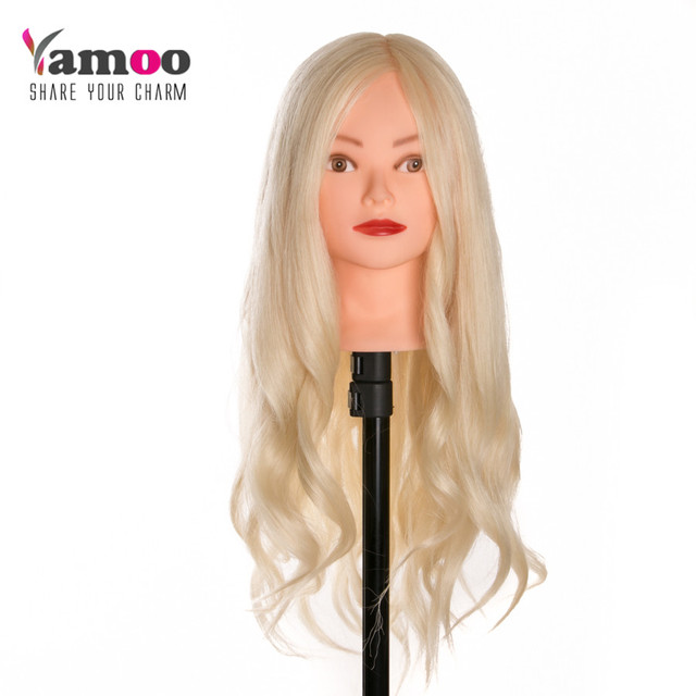 Blonde Dummy Mannequin Training Head Hair Styling Long Cosmetology Heads Models Made