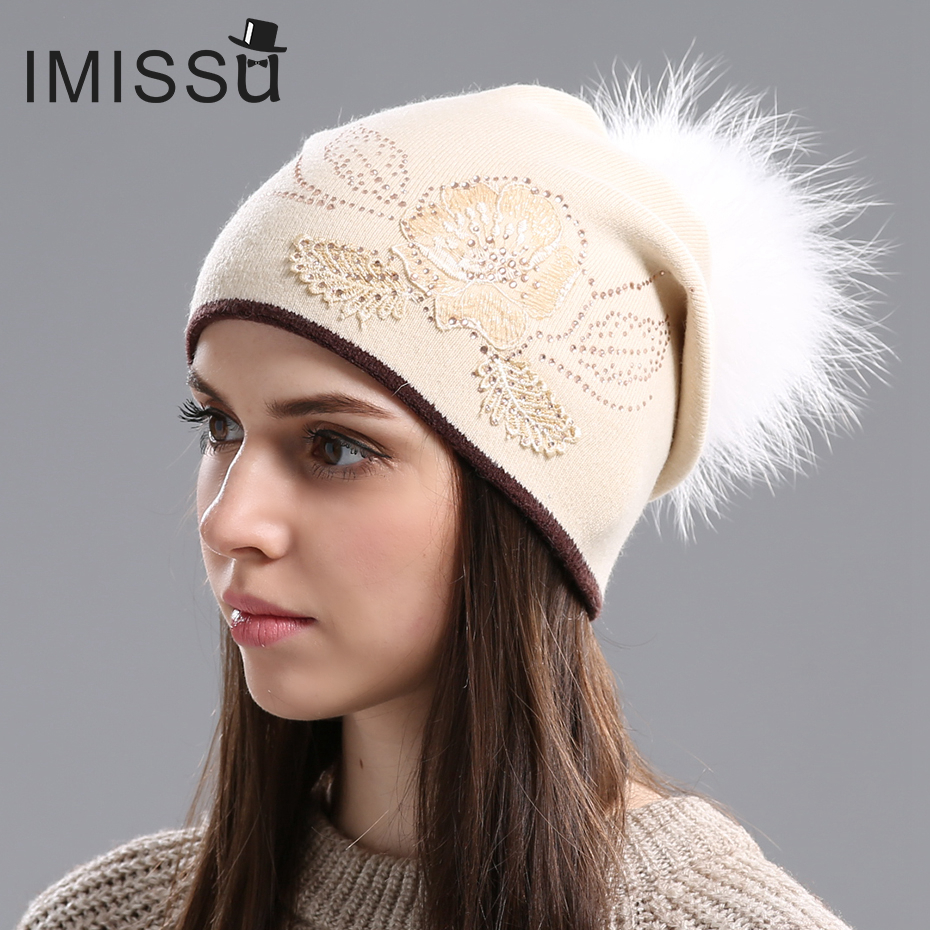 IMISSU  Winter Fur Beanies Cap for Women Knitted Wool Hats Flower Style Hat with Pom Pom Gorros Thick Warm Beanie Cap for Girls winter women beanies pompons hats warm baggy casual crochet cap knitted hat with patch wool hat capcasquette gorros de lana