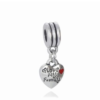 Berloques New font b Jewelry b font Love My Family Heart Dangle Charms font b Beads