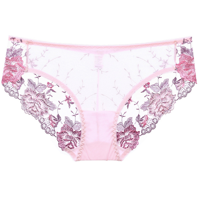 INITIALDREAM New Women Underwear Embroidered Lace Panties Sexy Transparent Hollow Female Underpants Lingerie Ultrathin Briefs