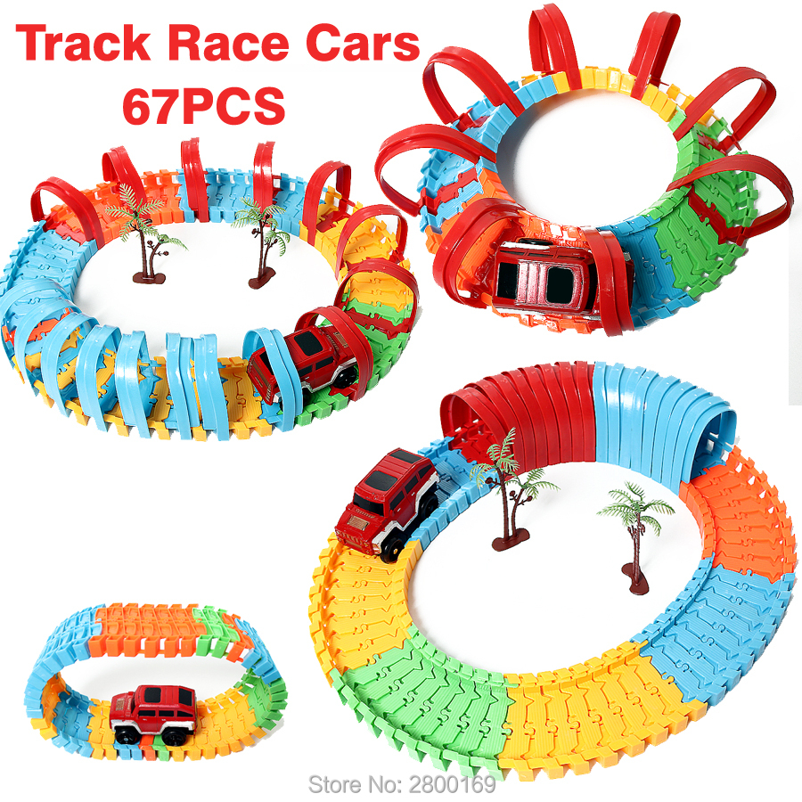 DIY Diecast Puzzle Variety Rail Car Electric Roller Coaster rail car Race Track Educational Toy for Kids 67PCS/Set