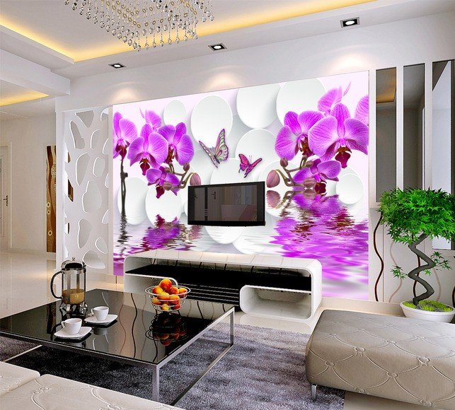 Free Shipping 3D Purple flower mural living room sofa TV background wall bedroom coffee house Bar study wallpaper mural  free shipping purple nebula wallpaper children s room living room tv sofa bedroom ceiling decoration star globe wallpaper mural